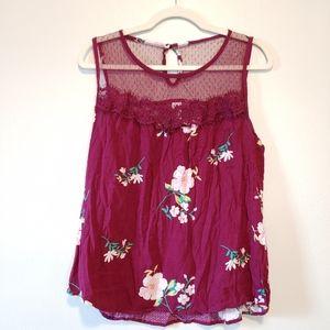 No Boundaries NOBO maroon floral sleeveless blouse